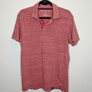 🟣 +++ Aeropostale Men's Heathered Red SS Polo